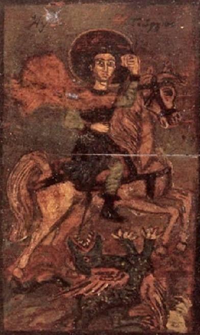 Θεόφιλος Χατζημιχαήλ - Ο Άγιος Γεώργιος έφιππος σκοτώνει τον δράκοντα, 1897