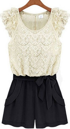 Cap Sleeve Lace Paned Color Blocking Romper