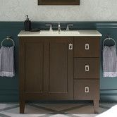 """Found it at AllModern - Poplin 36"""" Vanity with Furniture Legs, 1 Door and 3 Drawers On Right"""
