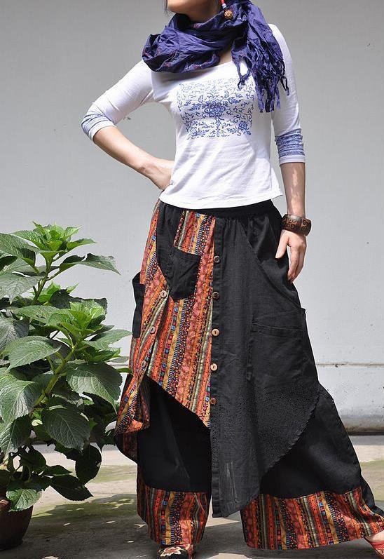 Linen Elastic waist stitching culottes by MaLieb on Etsy, $89.00