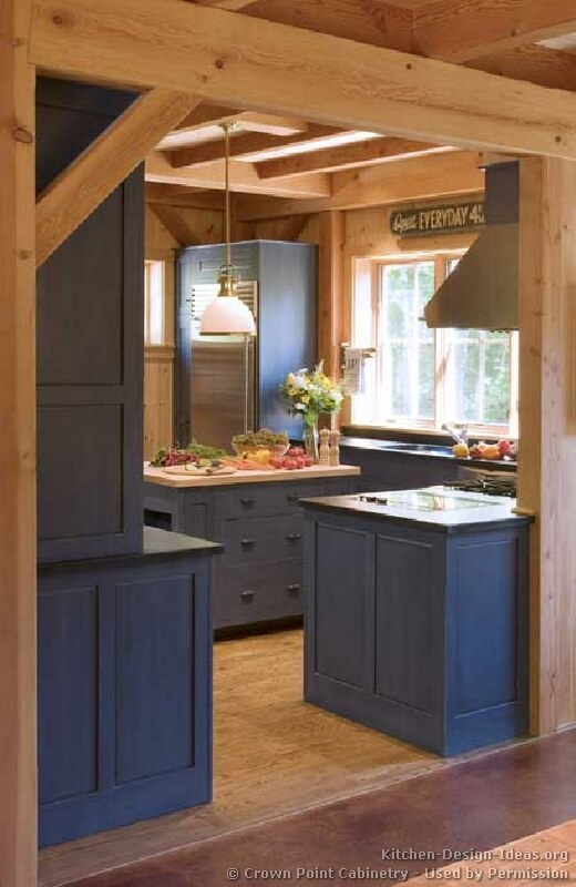 Blue Kitchen Cabinets would look great in my future log cabin!