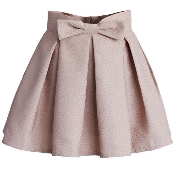 Chicwish Sweet Your Heart Bowknot Pleated Mini Skirt in Pink ($39) ❤ liked on Polyvore