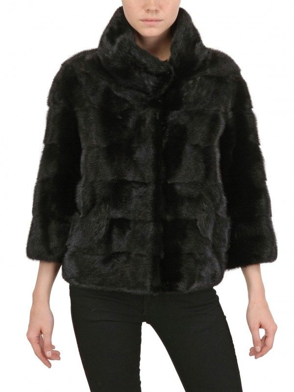 Simonetta Ravizza Short Mink Fur Coat in Black