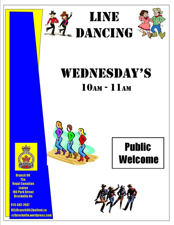 Line Dancing   Wednesday's 10am -- 11am December 4, 11, 18 No Line Dancing December 25th and January 1st  Open to the Public