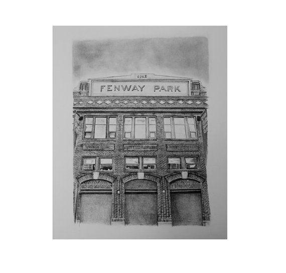 Fenway Park Boston Red Sox pencil drawing print by pierrebolouvi, $65.00
