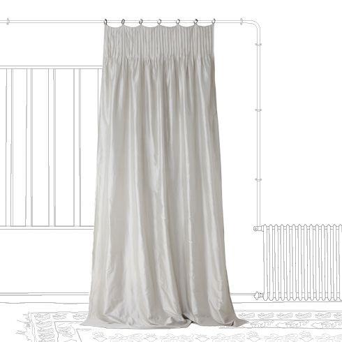 rideau doubl avec satin ton sur ton occultant un rideau de soie moderne par son montage. Black Bedroom Furniture Sets. Home Design Ideas