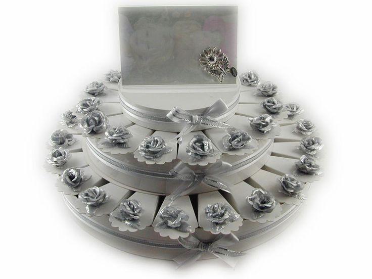 Torta bomboniera 38 fette rose in tessuto colore argento