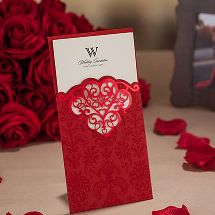 wedding invitations card custom print sweet chinese red wedding cards