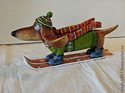Собака Такса Лыжница . Деревянная скульптура . Ручная роспись - такса