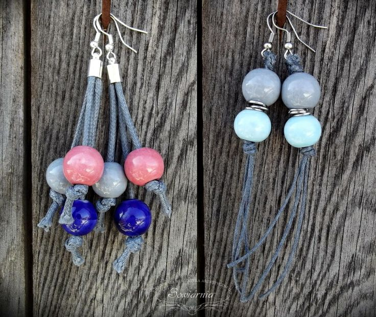 Earrings made from ceramic beads