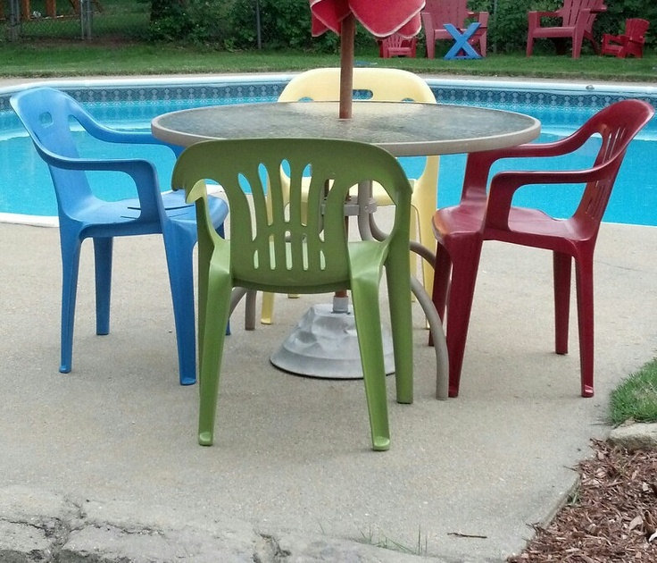 Easy lawn furniture update  Spray painted my old green plastic lawn chairs 19 best plastic furniture images on Pinterest   Spray painting  . Green Resin Patio Table And Chairs. Home Design Ideas