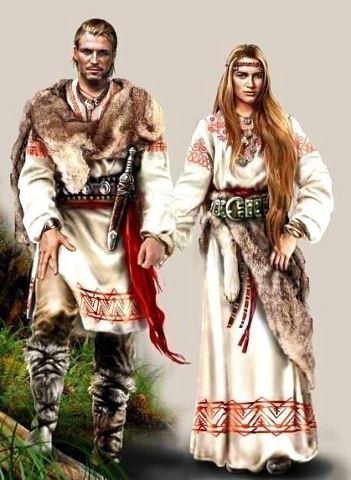 This is somewhat how I picture the Goddess and the God ~ the clothing style, the furs, hand in hand..... a good image I believe
