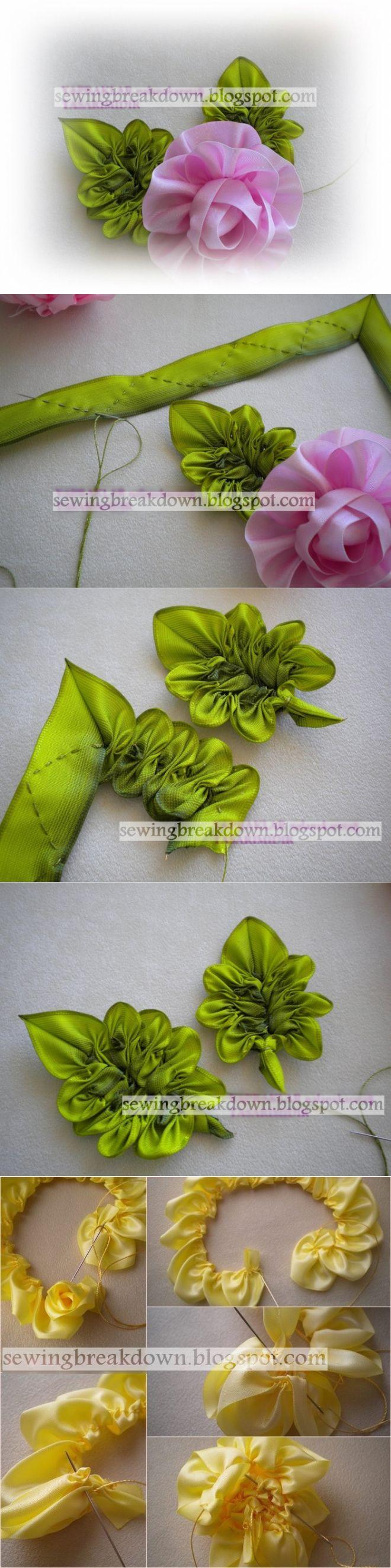 Необычные листочки из атласных лент.
