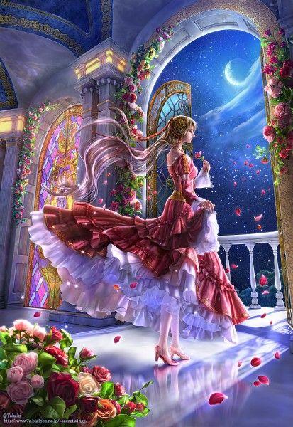 Tags: Anime, Takaki, Night Sky, Red Dress, Stars (Sky), Full Moon, Stained Glass