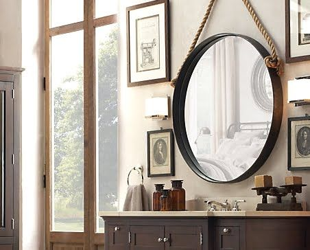 restoration hardware knock off mirror in powder room over farmhouse sink