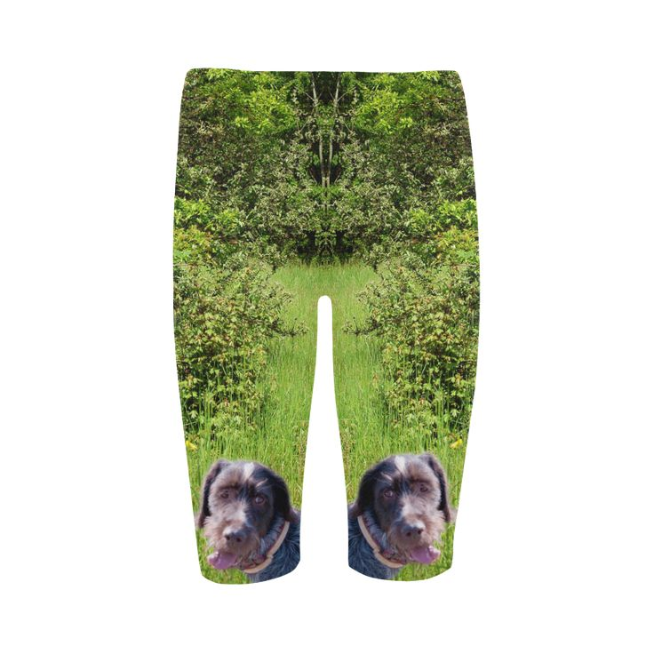 Dog and Flowers Cropped Leggings