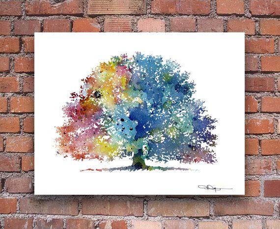 Arbre de chêne reproduction d'Art peinture par 1GalleryAbove