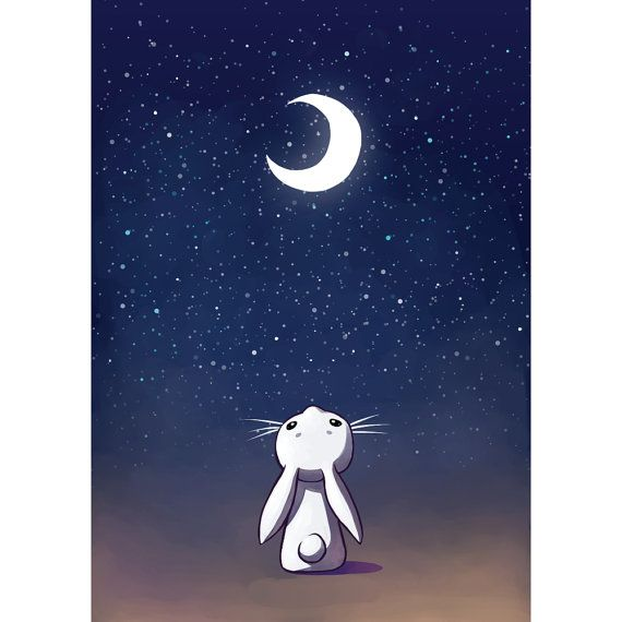 A sweet bunny stares at the moon on a star filled night! We've turned this engaging anime art from Lithuanian illustrator and digital artist,