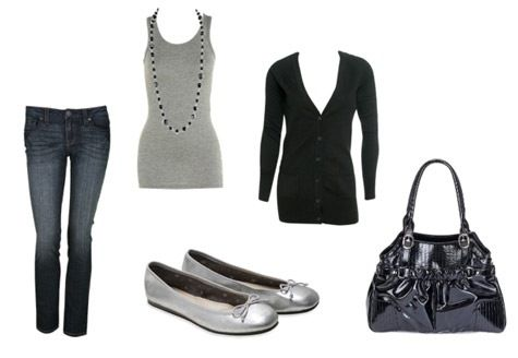 Class wear  Skinny jeans-Charlotte Russe  Tank Top/Cardigan-Wet Seal  Flats-AE  Bag-Target
