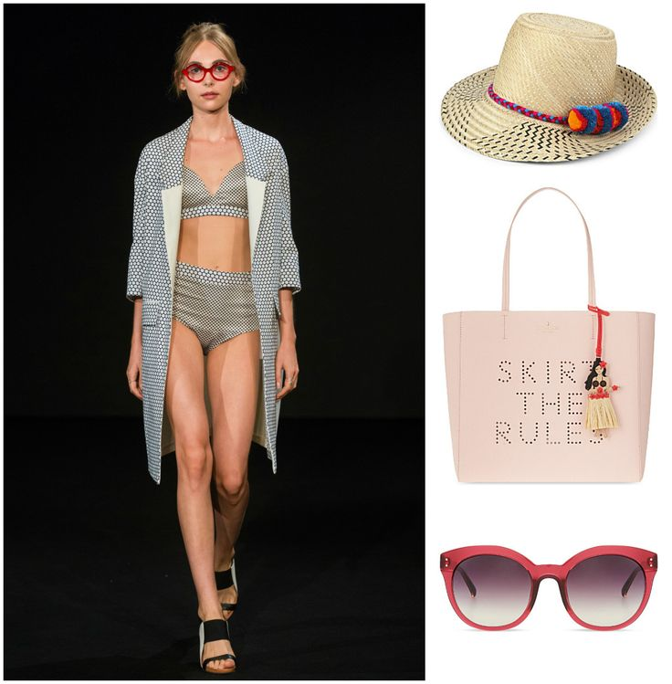 A piece by Katerina Geislerova is perfect for a summer day by the pool. Complete the outfit with a playful fedora by Sara Designs NYC, sunglasses by Linda Farrow, and a fun tote to keep everything in by kate spade new york. #summerfun #summerdays #praguefashion #czechdesigner #staycool #daybythepool #beplayful #katespadenewyork #lindafarrow #saradesignsnyc