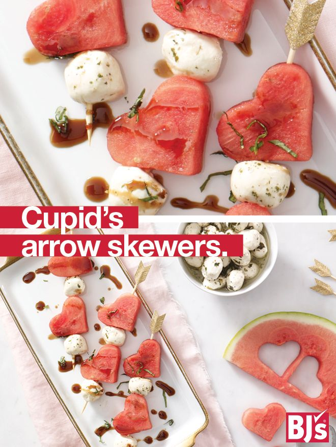 Valentine's Day Appetizer - Watermelon and mozzarella skewers get a sweet touch from heart cookie cutters.http://stocked.bjs.com/food/cupid%E2%80%99s-arrow-skewers