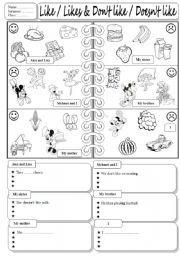 English teaching worksheets: Food likes and dislikes