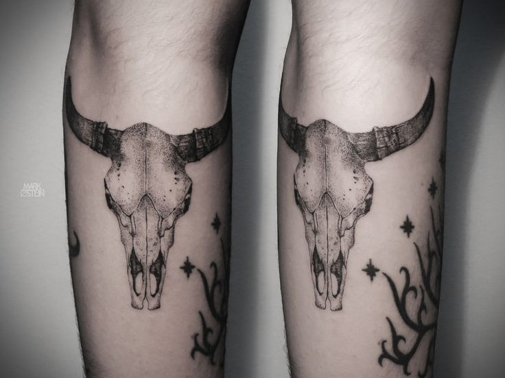 bull skull tattoo - Mark Osten
