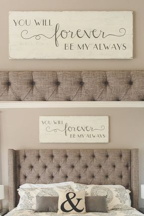 "Bedroom wall decor // You will forever be my always // wood signs// large bedroom sign // 48"" x 18.5"""