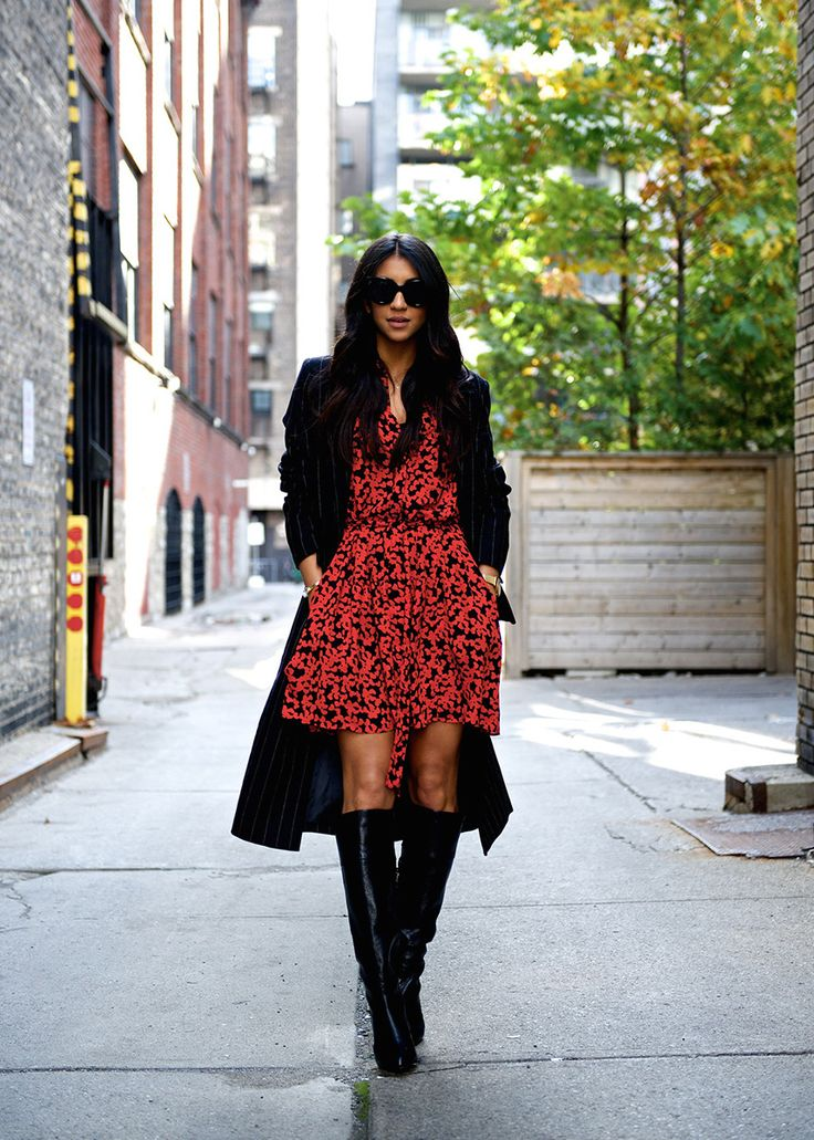 Not Your Standard is red hot in this heart-print shirtdress. She styles it with our long black pinstripe blazer and knee-high heeled leather boots | Banana Republic
