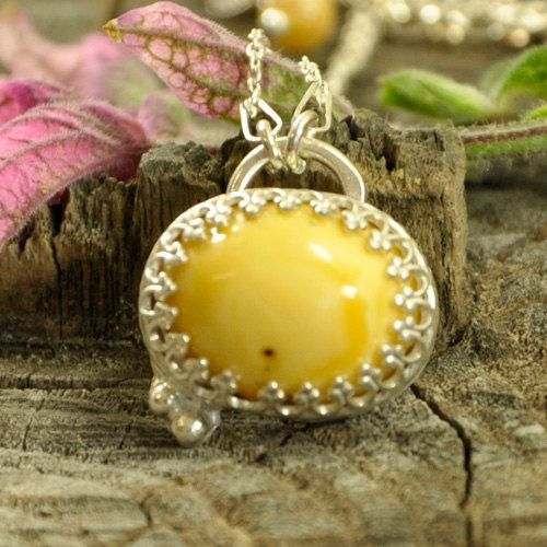 Butter Amber necklace  sterling silver artistic by Ankanate