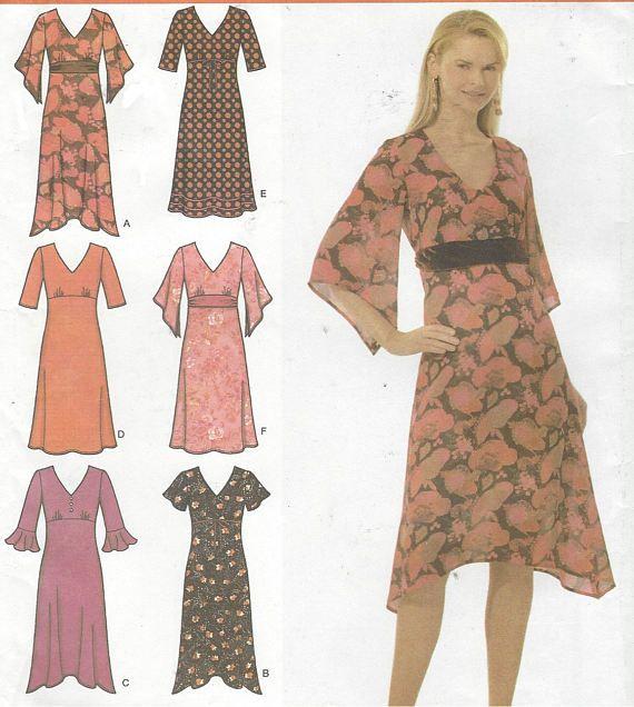 Womens Empire Waist Dress with Sleeve & Hemline Variations OOP