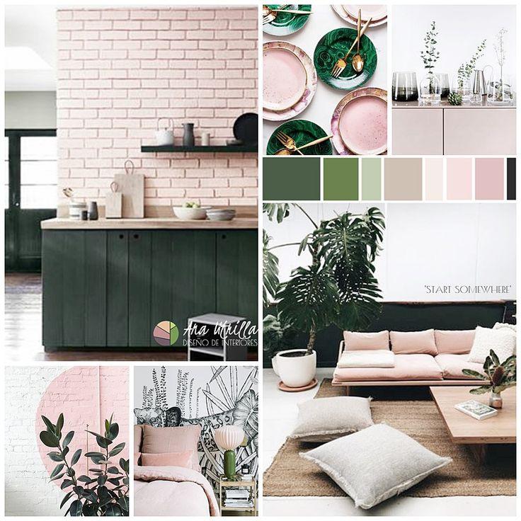 Moodboard de colores y estilo primaverales en tonos verde ...