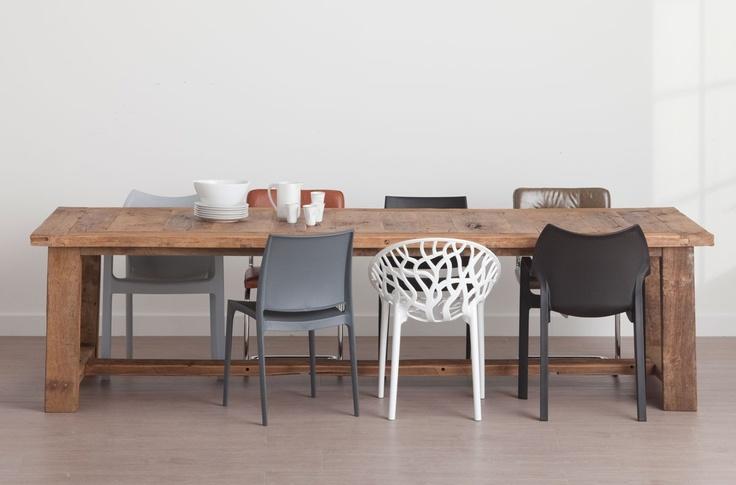 Eettafel van antiek eikenhout 300x110 cm WHITE II WHITE