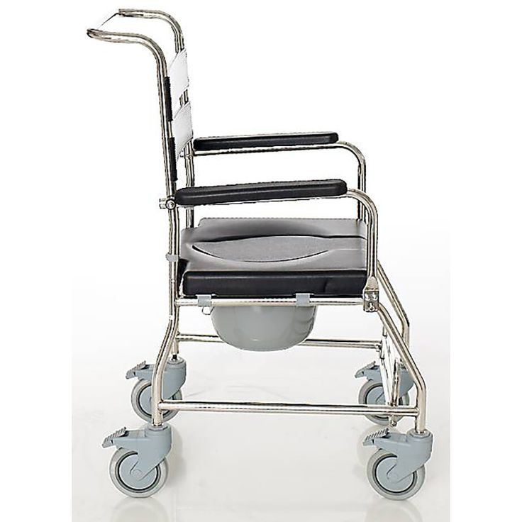 Silla de ducha en acero inoxidable con ruedas y sistema de frenos para una mayor seguridad de las personas con movilidad reducida. Con respaldo extraíble.    Estructura de acero inoxidable.  Apoyabra...