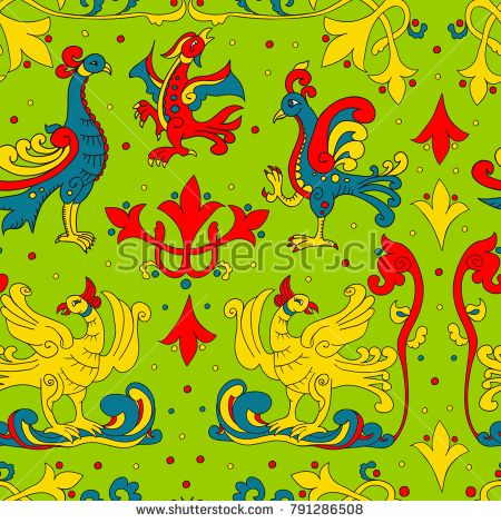 Russian traditional pattern with birds and swirls hand-drawn in old russian style in vector
