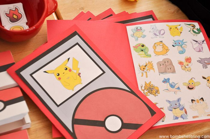choose which Pokemon character to use for the hunt and I made printables for the hunt.  My husband hung pictures of the characters all over the yard and the kids each took a homemade paper Pokedex with them to check off the characters that they found as they were hunting.
