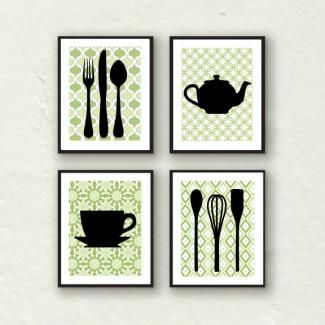 Kitchen Art Prints in Green – Set of Four for Your Decor – Various Sizes  I would want a gray background.