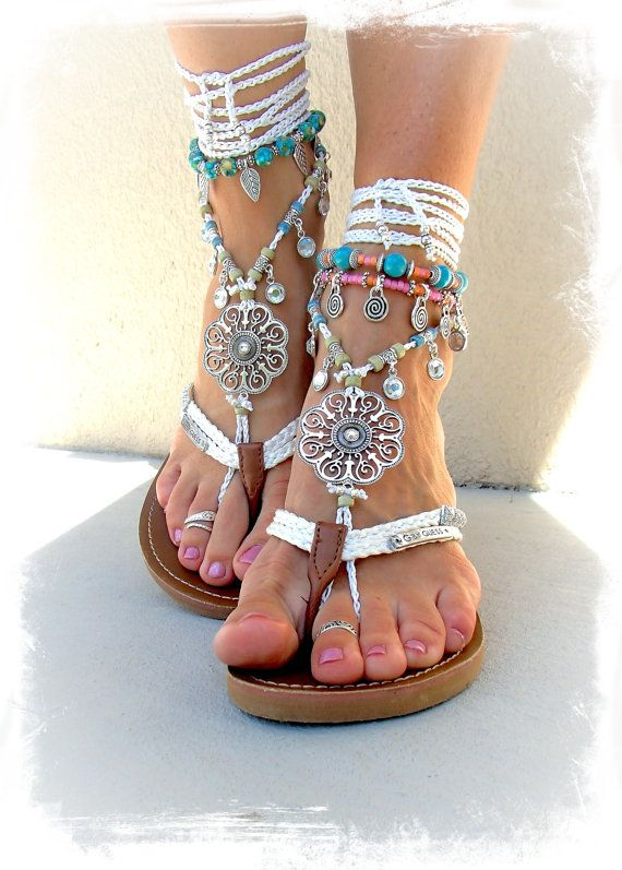 Silver Swirl Mandala WEDDING BAREFOOT Sandals Toe Anklet wrap sandal WHITE Crochet Sandal Garden Wedding Summer vacation Foot Jewelry GPyoga