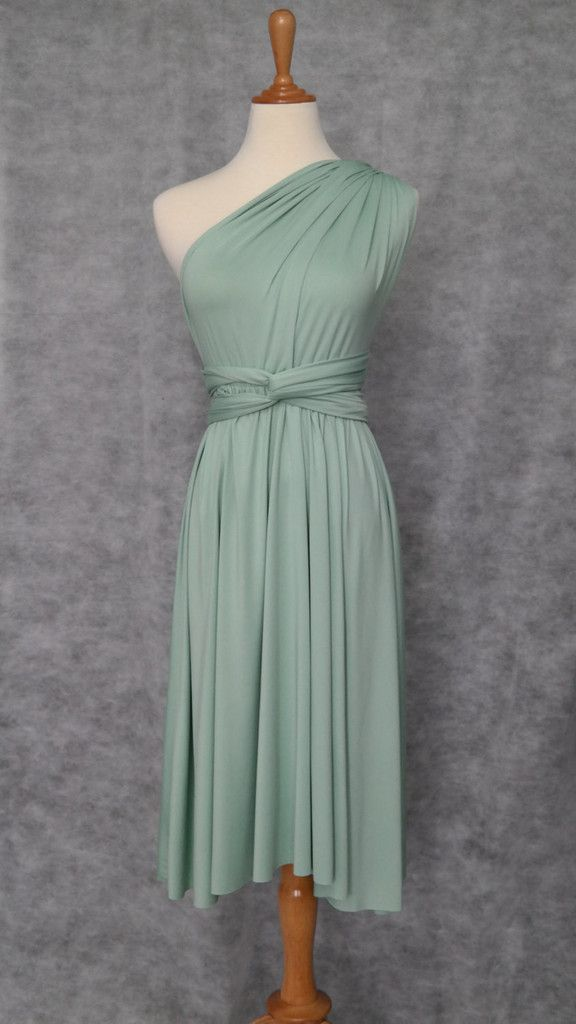 LilZoo Knee Length Convertible Infinity MultiWay Wrap Dress with Pastel Sage Green with Free Bandeau Mint Meadow Fawn Green