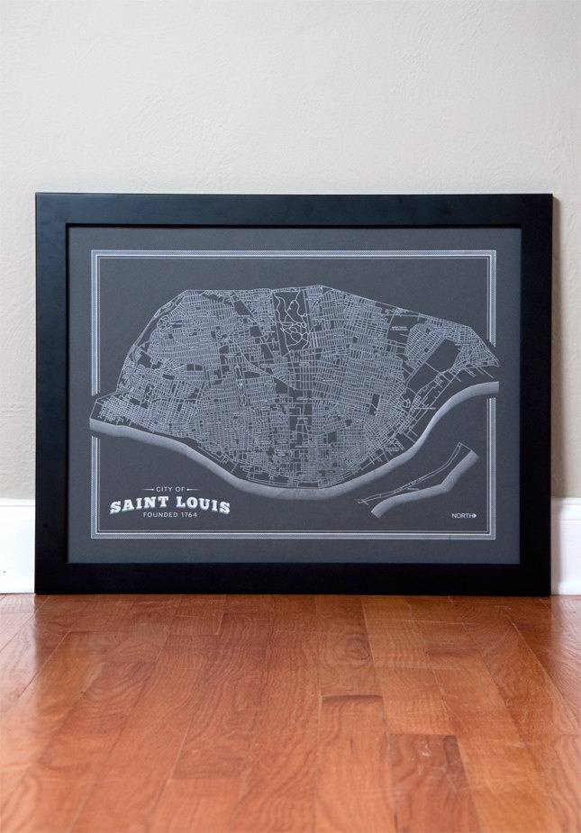 St. Louis Map - 18 x 24 - Street and Neighborhood Map. $30.00, via Etsy.