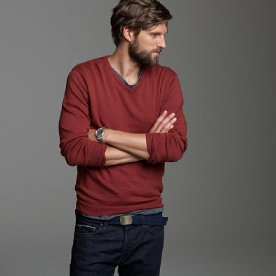 Casual Thin Sweaters, Beards Men, Cotton Belts, Blue Jeans, Red Thin, Grey Tees, Men Fashion, Men'S Fashion, Blue Cotton