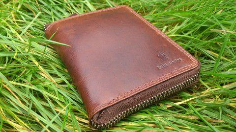 Mens Genuine Leather Wallet Hunter Suede Full Metal Zip Brown