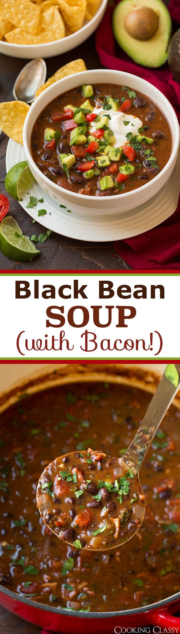 Black Bean Soup - you would think black bean soup is boring but with the addition of bacon and avocado this is anything but! We've made this twice in the last week!