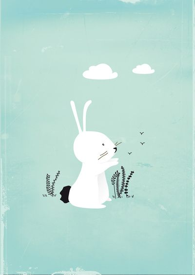 Sweet bunny illustration, cute for a nursery or kid's bedroom