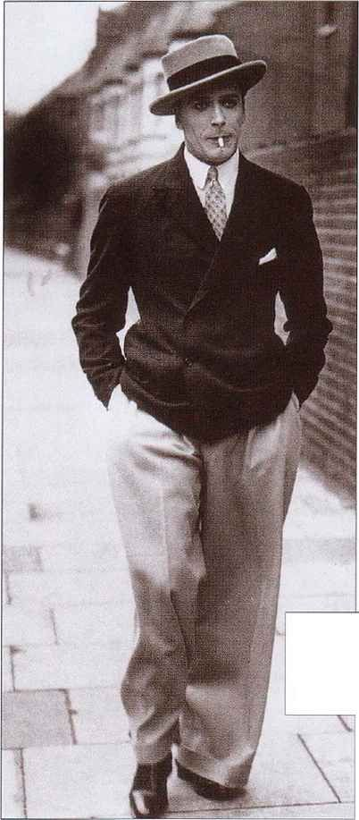 1920-1947 Costume for Men. Oxford Bags were wide leg trousers that, although rarely worn, inspired a wide pant leg among men.