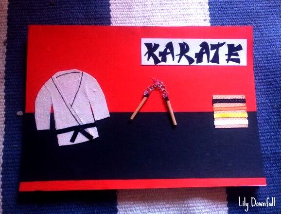 """This """"Karate"""" card I made for my sister. It is her big hobby. I love making DIY cards."""