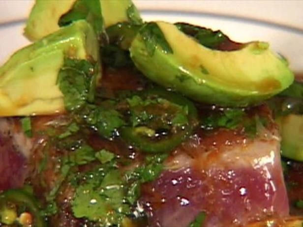 Recipe Video.  This avocado, lime, cilantro, ginger, garlic seared ahi was a hit!!!  Enough dressing for two steaks.  (says its for one.)  I used liquid aminos, not soy and maple syrup, not sugar.  :-)