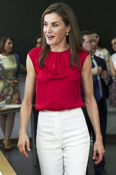 Queen Letizia of Spain (C) attends 'Toma la Palabra' cultural program for schools at the 'Jeronimo Gonzalez' school on June 20, 2017 in Sama de Langreo, Spain.