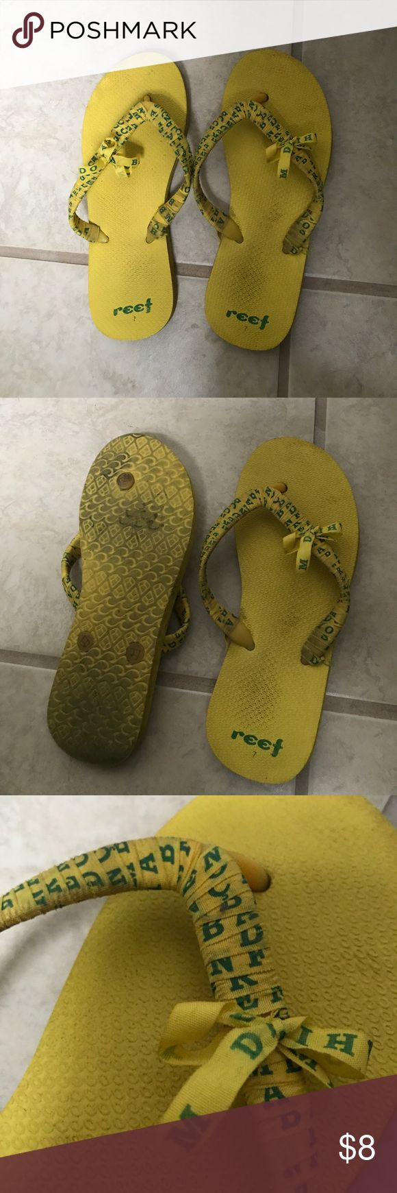 Reef Flip Flops Slightly worn Reef flip flops, still have life left in them.  Make an offer! ✨ Reef Shoes Sandals