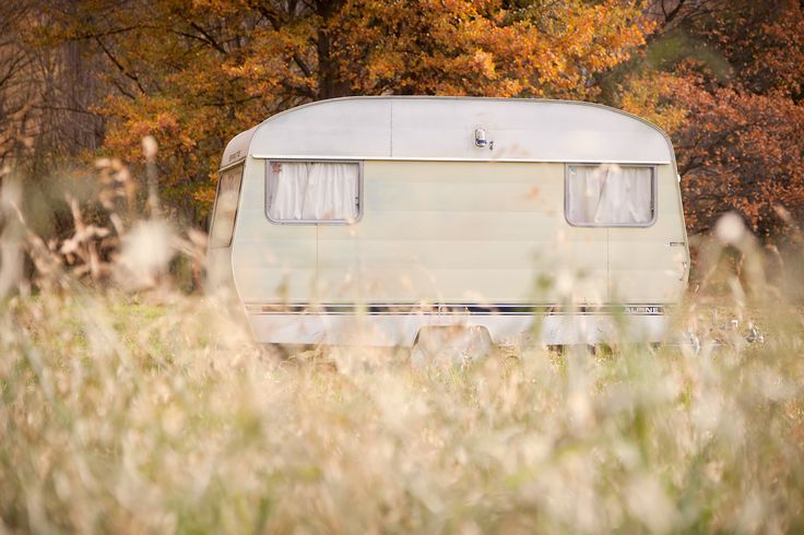 Lone caravan, Autumn at Waitangi camping ground Waitaki.